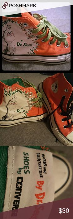 *Limited edition Chucks* converse all stars Dr. Seuss Grinch converse. Orange and green. They run a little big. In great condition. WORN 1 time. Changing laces gives them a different look. Can send with black white or green. Let me know proir to shipping. Converse Shoes