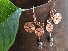 Swirly Whirls of Copper With a Hematite Dangle by BGPainter, $16.00