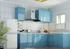 17 Appealing Blue Kitchen Designs That Everyone Should See Green Kitchen Cupboards, Wallpaper For Kitchen Cabinets, Kitchen Cupboard Doors, Cupboard Design, Modern Kitchen Cabinets, Gloss Kitchen, Kitchen Appliances, Blue Kitchen Designs, Kitchen Room Design