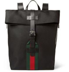 Gucci - Leather-Trimmed Canvas Backpack | MR PORTER