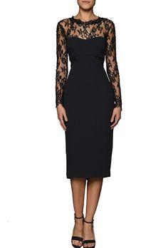 Monique Lhuillier Long Sleeve Mother of the Bride Dress. Crepe cocktail dress with long lace sleeves, $2,395, Monique Lhuillier