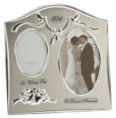 Two Tone Silver Plated 60th Diamond Anniversary Double Picture Frame By Haysom Interiors * Learn more by visiting the image link.