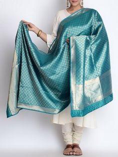 Teal Silk Zari Booti Handwoven Dupatta by Bandhej