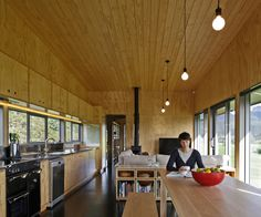 The interior of the holiday home is lined in simple ply. Photograph by Patrick Reynolds
