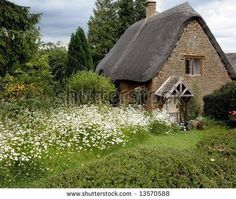 Photograph of an old English cottage in the countryside. English Country Manor, English Cottage Style, Country Chic Cottage, Cozy Cottage, English Cottages, Country Homes, Fairytale Cottage, Storybook Cottage, Romantic Cottage