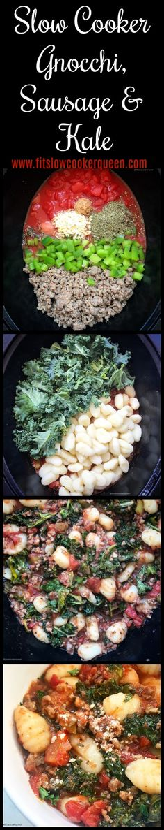 Gnocchi in the slow cooker? Of course! Gnocchi, sausage, and kale cook in a tomato sauce in this simple and hearty slow cooker recipe. Slow cooker comfort food at it's finest. #gnocchi #slowcooker #crockpot #italianfood