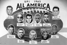 Here is the UPI All-American football team as chosen by 305 writers and broadcasters. Backs are: Roger Staubach, of the Naval Academy; Jay Wilkenson, of Duke University; Gale Sayers, of Kansas; and Wilkenson Lewis, of Michigan State. Linemen are: Verb Burke, End, of Oregon State; Scott Appleton, Tackle, of Texas; Bob Brown, Guard, of Nebraska; Dick Verb, Center, of Illinois; Rick Verb, Guard, of Washington; Carl Seller, Tackle, of Minnesota; and Jib Kelly, End, of Not re Dame.