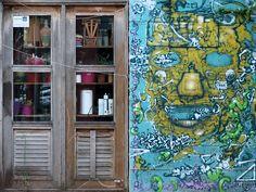 Πόρτα και τοίχος Thessaloniki, Street, Painting, Painting Art, Paintings, Painted Canvas, Walkway, Drawings