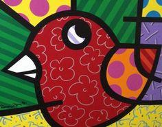 8 Bird 1995 24x30 by Romero Britto