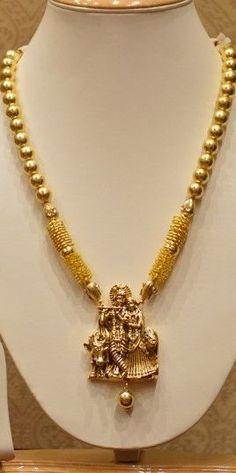 Temple Jewellery Radhe Krishna Necklace Set With Golden Pearls #AnticGoldJewellery