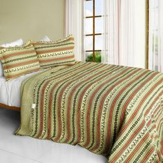 A Long Summer 3PC Cotton Vermicelli-Quilted Printed Quilt Set (Full/Queen Size)