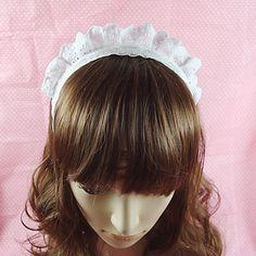 Handmade White Ruffle Lace Country Lolita Headband