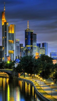 The nighttime skyline of Frankfurt, Germany. Frankfurt, a central German city on the river Main, is a major financial hub that's home to the European Central Bank. It's the birthplace of famed writer Johann Wolfgang von Goethe, whose former home is now the Goethe House Museum. Like much of the city, it was damaged during World War II and later rebuilt. (V)
