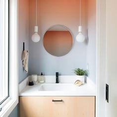 ombre wall in tiny bathroom Decor, Elle Decor, Bathroom Decor, Ombre Wall, Bathroom Pendant Lighting, Bathroom Mirror, Home Decor, Mirror, Bathroom Design