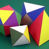 Easy-to-follow directions for making three geometric solids--tetrahedron, octahedron and icosahedron.