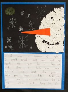 """If I were a snowman at night...."" I especially like the torn paper snowman :-)"