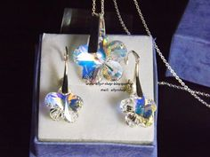 Ellys Shop: Set argint si cristale swarovski floare Swarovski, Washer Necklace, 3, Handmade, Shopping, Jewelry, Lantern, Hand Made, Jewlery
