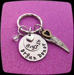 Organ Donor Gift, Gift For Donor, Donor Thank You, Cancer awareness Key RIng, Kidney, Liver, Bone Marrow, Heart, Cancer Healing gift