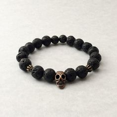 Lava Stone & Copper Bracelet lava beads black by foxandson on Etsy