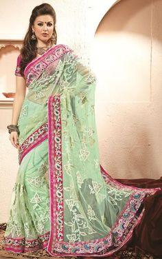 Green Net Thread Work Saree