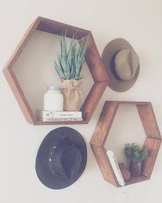 SET OF TWO Rustic Hexagon Wood Shelves Geometric Wall Decor