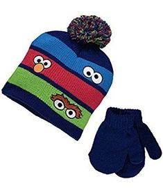 d7398367d26 Sesame Street Elmo Cookie Monster Oscar Baby Beanie Hat   Mittens Set Boys  Beanie