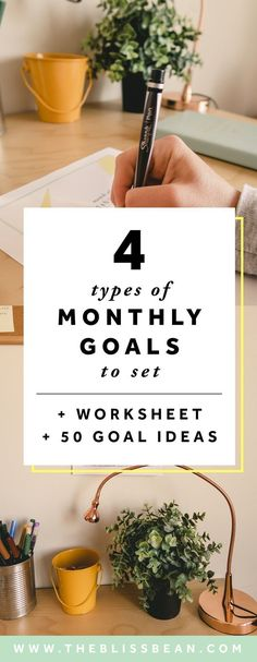 4 Reasons Why Monthly Goals Are So Powerful + 50 Goal Ideas — The Bliss Bean – Tips For The Best Organizations Free Printable Worksheets, Free Printables, Motivation, Goals Tumblr, Goal List, Work Goals, Goal Setting Worksheet, Goal Planning, Co Working