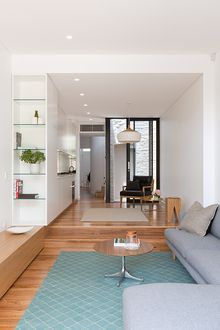 ​ Major renovation and extension to a small terrace in Birchgrove Small Kitchen Inspiration, Small Terrace, Living Room Lighting, Mid Century Modern Furniture, Furniture Styles, Mid-century Modern, House Design, Interior Design, Rugs