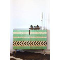 DENY Designs Allyson Johnson Mint Stripes and Arrows Credenza - 17946-CREWOD