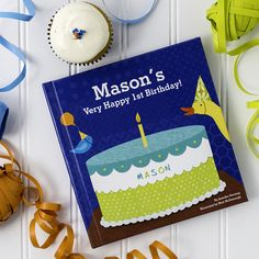 Adorable animals prepare a special birthday party and cake for your little boy in this personalized book with durable board pages.