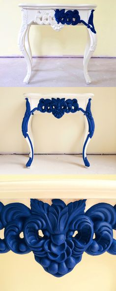 Napoleonic Blue Chalk Paint on White Console Napoleonic Blue, Blue Chalk Paint, Hotel Spa, Annie Sloan, Event Venues, Vanity Bench, Console, Painting, Design