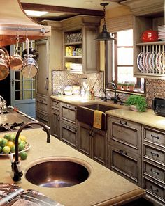 Floating Wood Shelves Copper Sink White Cabinet Wood Counter Design, Pictures, Remodel, Decor and Ideas - page 8