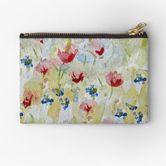 'Poppy Meadow' Zipper Pouch by wildseadesign Canvas Prints, Art Prints, Zipper Pouch, Cotton Tote Bags, Poppy, Zip Around Wallet, Finding Yourself, Coin Purse, My Arts