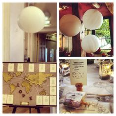 Glam travel themed wedding with big balloons