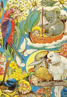 May Gibbs - Snugglepot and Cuddlepie Australian Authors, Australian Artists, Melbourne, Sydney, Australian Animals, Images Google, Children's Book Illustration, Whimsical Art, Book Art