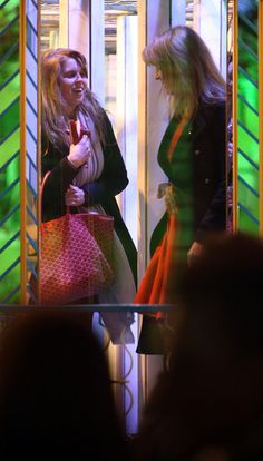 Princess Beatrice Photos - Royals, Sarah Duchess of York (commonly known as Fergie) and her daughter Princess Beatrice spotted enjoying some family time together at Winter Wonderland. Sarah has a slip on one of the rides and falls over much to Beatrice's amusement and later flashes the royal knickers! - Fergie & Princess Beatrice Visiting Winter Wonderland