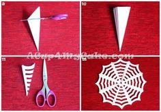 Como fazer teia de aranha de papel; Serve como decoração na mesa   Ideias de Halloween   Madame Inspiração