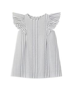 Jacadi Infant Girls' Flutter Sleeve Striped Dress & Bloomers Set - Sizes 6-18 Months   Dress and bloomers: cotton/linen   Machine wash   Imported   Fits true to size   Dress: round neck, flutter sleev