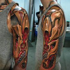 tattoos oberarm, dreidimensionale tätowirung mit grellen farben