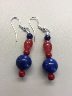 Red and blue patriotic earrings by SpekletandMore on Etsy https://www.etsy.com/listing/226499673/red-and-blue-patriotic-earrings