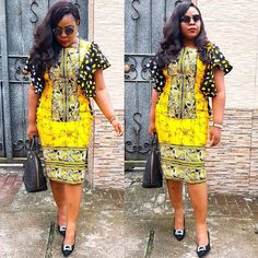 Image may contain: 2 people, people standing, sunglasses and outdoor Modern African Print Dresses, Short African Dresses, African Traditional Dresses, African Fashion Ankara, African Inspired Fashion, African Print Fashion, Trendy Ankara Styles, Ankara Dress Styles, African Attire