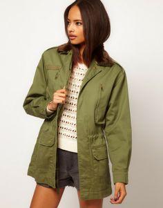 Army Jacket with Detachable Fur Trim - Lyst