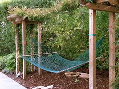 Idea: build 2 pergola arbors as accent /entrance to yard from path and space them wide enough apart for hanging hammock Backyard Hammock, Cozy Backyard, Backyard Landscaping, Hammock Ideas, Hammocks, Hammock Posts, Outdoor Hammock, Outdoor Shade, Hammock Stand