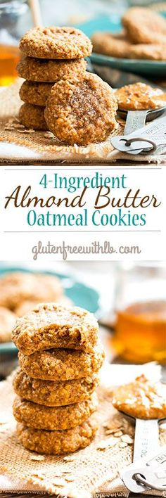 (4-Ingredient) Almond Butter Oatmeal Cookies - Good possible vegan subs are maple syrup instead of honey and a flax egg.