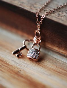 198 Rose Gold Key & Lock Necklace  dainty by LustreModernJewelry, $33.00