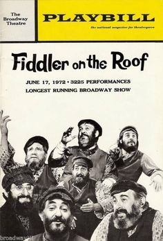 """Bock & Harnick """"FIDDLER ON THE ROOF"""" Record Breaking 1972 Broadway Playbill"""