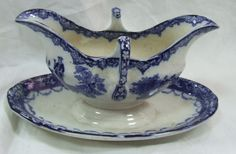 ~Royal Doulton Flow Blue Gravy Boat w/  Double Handles...19th Century England ~