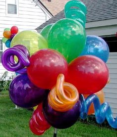 Balloon clouds with squiggles