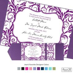 A crest-shaped frame surrounded by a bold damask pattern gives your Jean M wedding invitation a fashionable, retro look. The white card is printed with the frame and pattern in the same Michaels designer color you choose for your wording. Select one of our beautiful pockets for presenting your wedding invitations. Glue dots are included for attaching invitations to pockets; clear round seals are for securing the pockets closed.