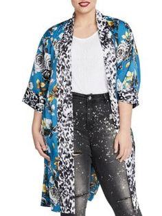 cd963274c Plus Rebel Floral Printed Kimono Plus Size Kimono, Rachel Rachel, Trendy Plus  Size,